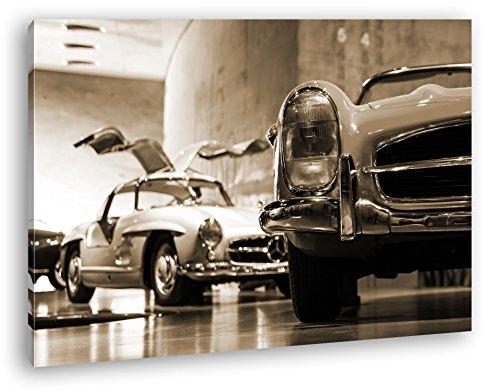 deyoli Oldtimer Ausstellung Format: 120x80 Effekt: Sepia als Leinwand, Motiv fertig gerahmt auf Echtholzrahmen, Hochwertiger Digitaldruck mit Rahmen, Kein Poster oder Plakat