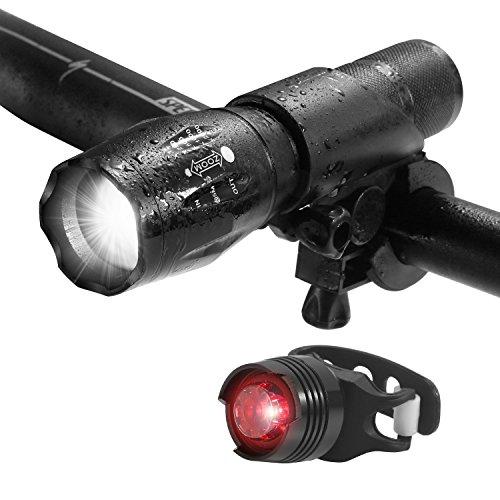 LED Fahrradbeleuchtung, 1000 Lumen 3 Licht-Modi LED Fahrradbeleuchtung Frontlichter und Rücklicht, Halterung, Zoombarer Effekt für Berg-Radfahren, Camping und täglichen Gebrauch, IP65 Wasserdicht, Fahrradbeleuchtung