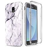Compatible avec Samsung Galaxy J3 2017 / J330 Coque, Ultra-Mince Marbre Motif Etui 360 Tout Le Corps Degrés Protection Housse Premium Transparent Bumper Coque Antichoc Anti-Rayures - Blanc Noir