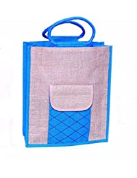 Blue & Beige Front Pocket Jute Carry Bag Strong Handle By Prison Inmates