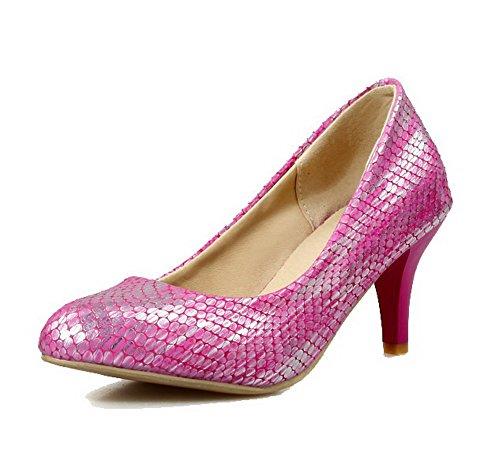 AllhqFashion Femme Pu Cuir à Talon Correct Pointu Couleur Unie Tire Chaussures Légeres Cramoisi