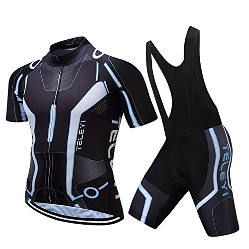 CHUANMEI Mens Radfahren Jersey Team Radsportbekleidung Jersey Bib Shorts Kit Shirt Quick Dry Fahrrad Outdoor-Bekleidung, Blue 1 -