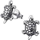 EYS JEWELRY Schildkröten Damen-Ohrstecker 925 Sterling Silber oxidiert 10 x 8 mm Damen-Schmuck Ohrringe