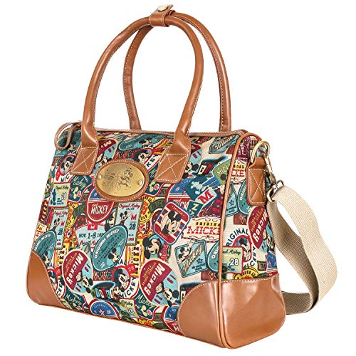 ililily X Disney Vintage Mickey Pattern Top Handle Satchel Bag With Mini Purse Pouch (Medium, Brown)