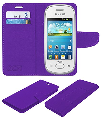 Acm Mobile Leather Flip Flap Wallet Case for Samsung Galaxy Star S5280 S5282 Mobile Cover Purple  available at amazon for Rs.369