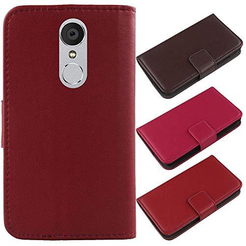 QHTTN Dark Rot Echt Leder Tasche Hülle Für Medion Life X5004 MD 99238 5