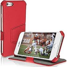 "igadgitz Premium Rojo PU Cuero Funda Folio Carcasa para Apple iPhone 6 & 6S 4.7"" Piel Case Cover Con Soporte + Protector Pantalla"
