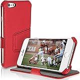 igadgitz U3120-Housse de cuir pour Apple Iphone 64.72014, avec support-rouge