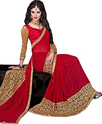 saree by saree mandir Red And Cream Georgette Women's Saree With Blouse Piece (Hit_Red_Russal_Saree_Free Size)