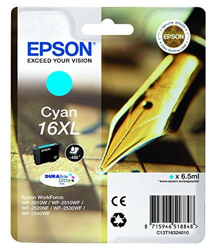 Epson Original T1632 Tintenpatrone Füller, wisch- und wasserfeste Tinte XL (Singlepack) cyan