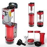 Intelishake - intelligente mehrkammer protein / training / saft shaker Trinkflasche (2 x 500ml) mit Wasser aktivkohlefilter für sport, bewegung und fitness-studio/gym - Brennender roter