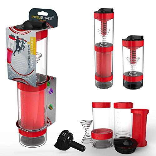 Intelishake - Bottiglia (2 x 500ml) Shaker Con Filtro A Carbone Acqua Multi-Scomparto Per Bevande Proteiche / Allenamento / Succhi Per Sport, Fitness E Palestra - rosso fuoco