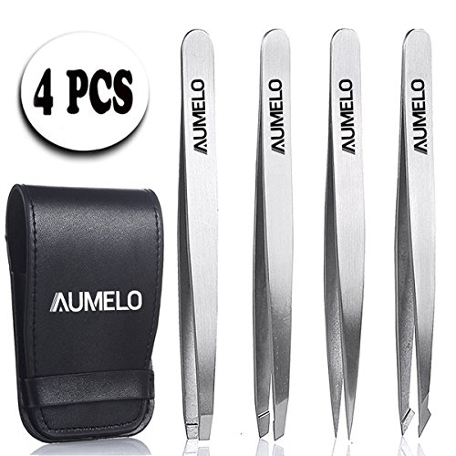 Tweezers Set 4-Piece Professional Stainless Steel Tweezers with Travel Case by Aumelo - Best Precision Eyebrow and Splinter Ingrown Hair Removal Tweezer Tip,Silver