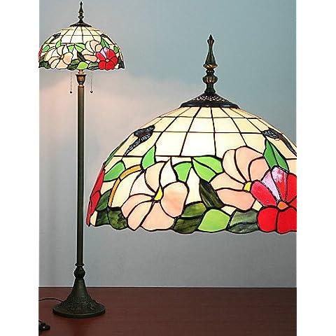 ASNSWDC® Floral Lampada da terra modello, 2 Luce, Tiffany Resina Processo Pittura Vetro , 220-240v