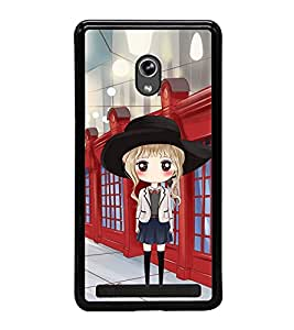 Fuson Premium 2D Back Case Cover Cute office Girl With Black Background Degined For Asus Zenfone 5::Asus Zenfone 5 A500CG