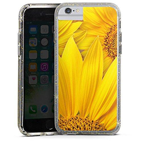 Apple iPhone 6s Plus Bumper Hülle Bumper Case Glitzer Hülle Sonnenblumen Gelb Yellow Bumper Case Glitzer gold