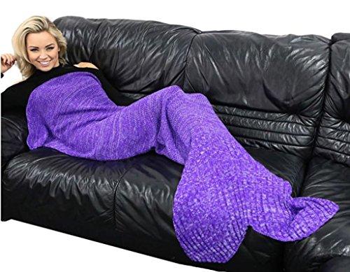 Caldo e accogliente maglia sirena coda coperta, divano letto soggiorno coperta sirena da ragazza, per donna, 100 % poliestere, Purple, taglia unica - Grande Punto Di Sonno Cozy