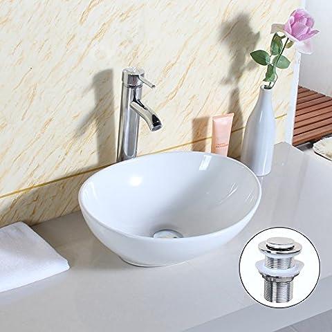 GaGa Oval Top Ceramic Basin Bowl Sink Vessel Porcelain Vanity Bathroom Kitchen with Pop Up Drain