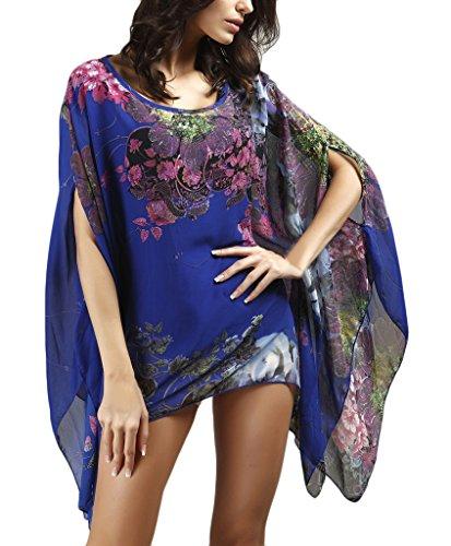 Donna Camicia Chiffon Elegante Manica Corta Manica Pipistrello Vintage A Fiori Floreale Stampato Classica Estiva Lunga Tunica Blusa T-Shirt Top Blu