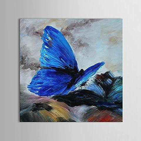 IPLST@ mariposa azul arte de la lona, pintura al óleo moderna abstracta decoración de la pared de la lona -24