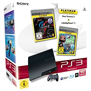 PlayStation 3 – Konsole Slim 160 GB + Gran Turismo 5 [Platinum] + LittleBigPlanet 2 [Platinum]
