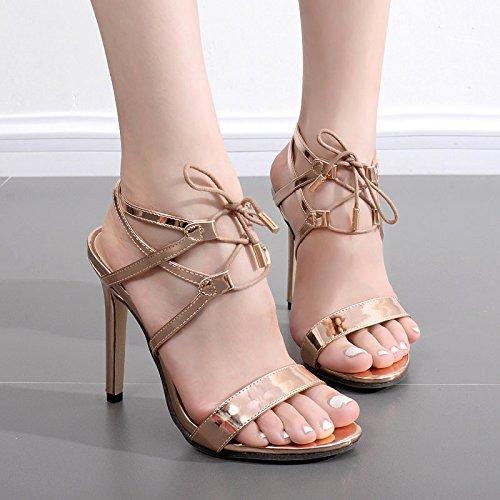 ZYUSHIZ Frau Western High-Heel Riemen Sandale Römische Sandalen Hausschuhe 37EU
