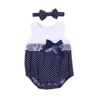 Baby Girls Dot Print Lace Romper Jumpsuit+Headband Outfits Clothes Set 6-24 Month (24 Month, A)