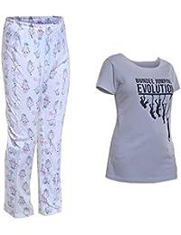 TRAZO Women Printed Cotton Night Suit Set Grey & White