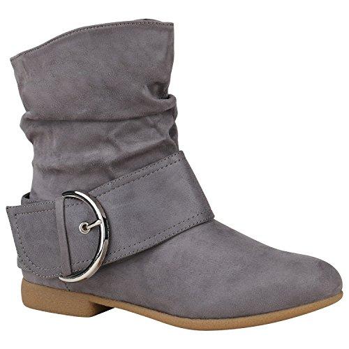 Damen Schuhe Schlupfstiefel Schnallen Stiefeletten Leder-Optik 150472 Grau Schnallen 37 Flandell