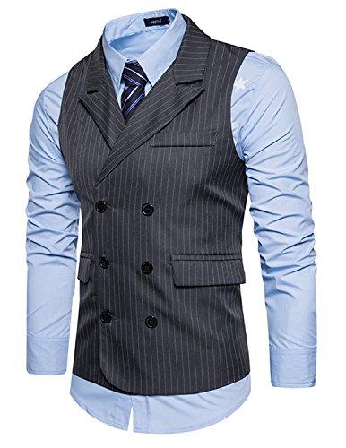 Leisure Homme Gilet Costume Veste Slim Fit Sans Manches Business Mariage Boucle double rangée(Sans chemise),Gris,L