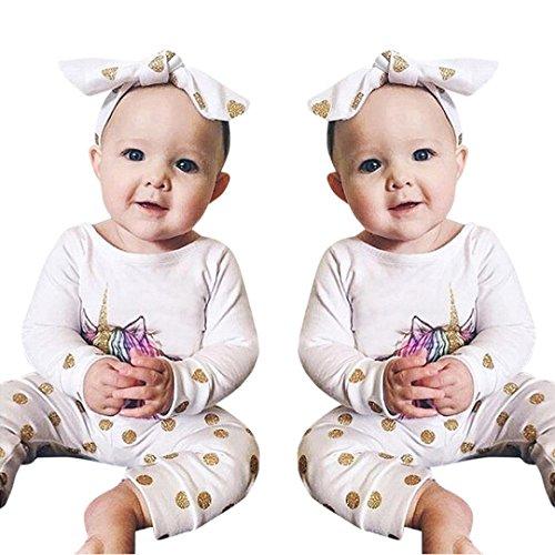 samLIKE Neue Einhorn Dot Print Neugeborene Baby Outfit Kleider Tops Hosen Stirnband Set (80, Weiß)