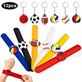 SPECOOL Silicone Slap Bracelets Sport Ball Themed Party Braccialetti Slap Calcio Wristbands Keychains Party Bag Fillers for Party Supplies Favors
