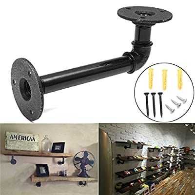 KING DO WAY Industrial Shelf Bracket Steampunk for Book Shop Shelf Shose Shop Shelf Custom shelves Floating Shelves Plumbing Pipe Shelf Restoration Hardware Shelf Black 16X8CM - inexpensive UK light shop.