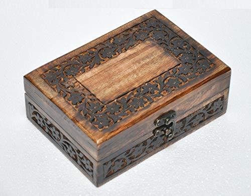 Antik handgefertigt Holz Dekorative Box Blumen Gravur handgeschnitzten Schmuck Box/Urne für women-men Jewel | Home Decor Akzente | Dekorative Urns | Speicherung und Organizer