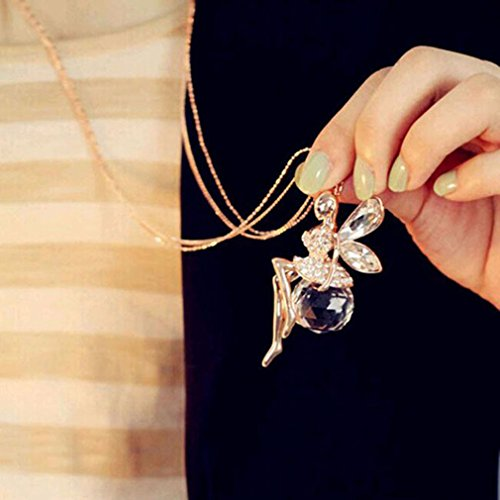 LnLyin Cool Lovely Angel Wings Butterfly Crystal Necklace Long Sweater Chain Jewelry