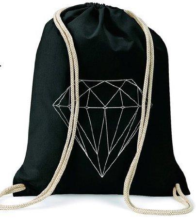 Diamante Diamond/Turn sacchetto Gymsac/Nero Black - Diamante Del Nastro Scorrevole