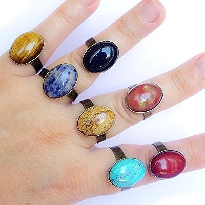 Bague pierre véritable femme simple ajustable bronze cabochon oval gemme pierres fines boheme boho chic : turquoise, agate, jaspe, sodalite, pierre de soleil