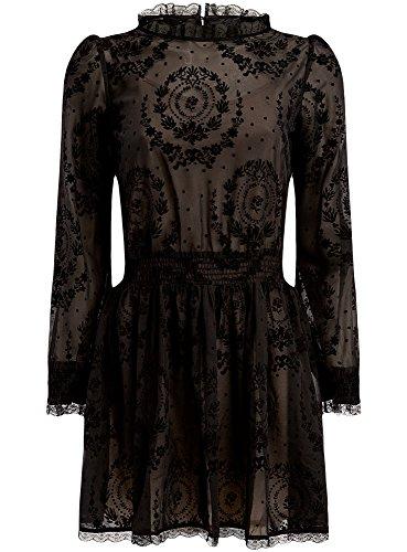 oodji-ultra-femme-robe-floquee-en-dentelle-avec-ceinture-elastiquee-noir-fr-40-m