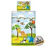 Aminata Kids Baby Bettwäsche Set Zoo Tiere 100 x 135 cm   Mädchen, Jungen   Baumwolle   Marken Reißverschluss & Öko Tex   kräftige Farben Dank Digital Druck