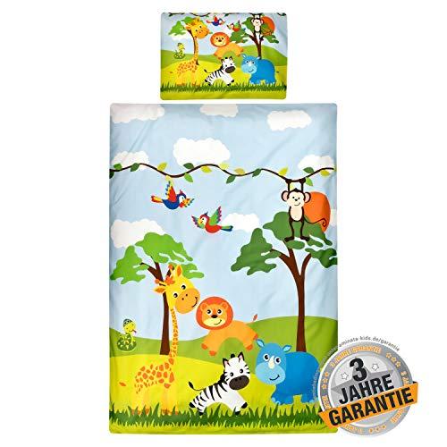 Aminata Kids Baby-Bettwäsche-Set Zoo-Tiere 100-x-135-cm - Mädchen, Jungen - Baumwolle - Marken-Reißverschluss & Öko-Tex - kräftige Farben Dank Digital-Druck (Safari-baby-bettwäsche Mädchen)