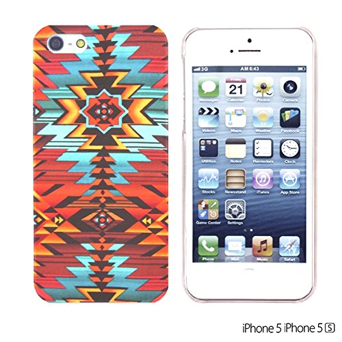 OBiDi - Geometrical Pattern Hardback Case / Housse pour Apple iPhone SE / Apple iPhone 5S / 5 - Funny Tribal Print Red Aztec Geometric Pattern