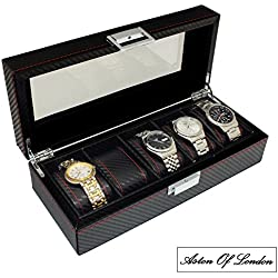 Gents Carbon Fibre Effect PU Leather 5 Watch Organiser Storage & Display Case by Aston Of London®