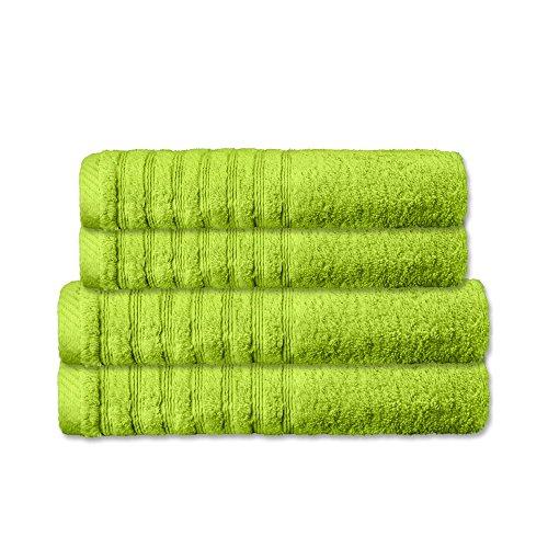 4 tlg. flauschiges Handtuch-Set | 16 moderne Farben und viele Größen | 100% gekämmte Baumwolle Frottee Qualität ca. 570g/m² | 4 teilig | 2x Duschtuch 70 x 140 cm 2x Saunatuch 80 x 200 cm | Serie Pisa | CelinaTex 0003499 | grün