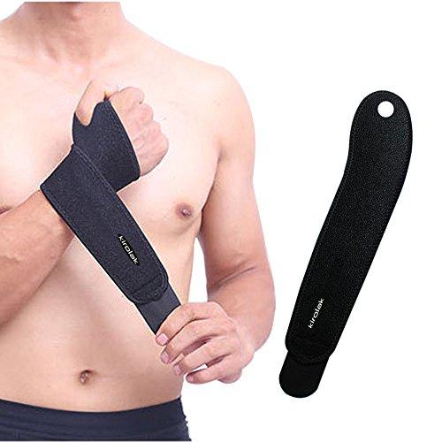 Soporte para muñeca deportiva, KIROLAK Ejercicio de entrenamiento protector de la mano con pulgar bucles para gimnasio Ejercicio WeightLifting - Negro