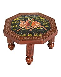 Exclusive Brown Wood Hand Painted Camel Table By Rajrang