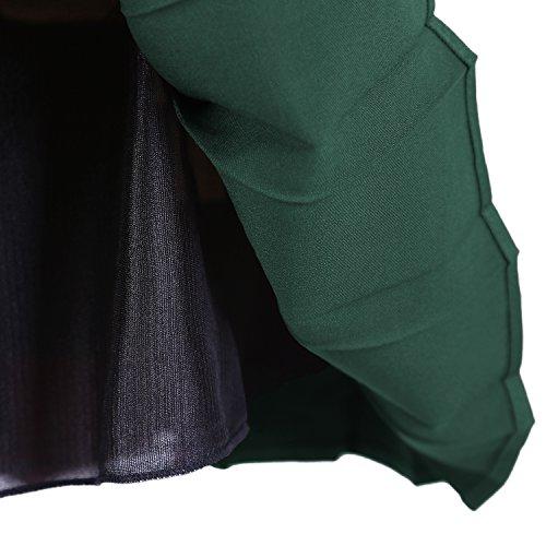 Damen Schulmädchen-Stil Skater Röcke Faltenrock Schuluniform Grün