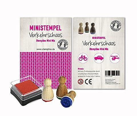 Mini Stempel Set 3er Pack / 10 verschiedene Motiv Mixe zur Auswahl - Verkehrschaos