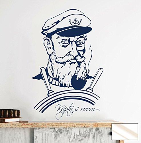 -Adesivo da parete Käptn S Room età Marinaio capitano M1500-colore a scelta, vetro bianco, XXL 100cm breit x 153cm hoch - Età Vetro