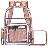 NiceEbag Zaino trasparente con borsetta e astuccio per i cosmetici, zaino per con varie tasche in PVC per libri, per andare in giro e viaggiare (oro rosa)