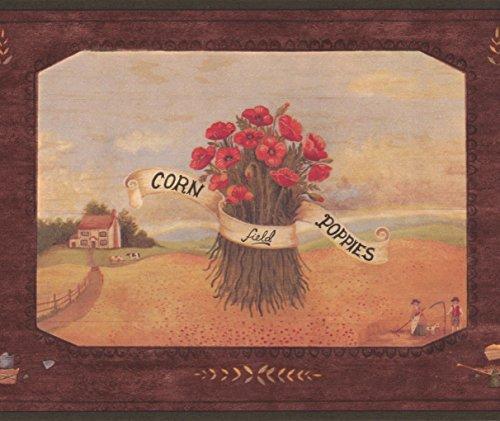 Chesapeake Sonnenblumen Mohn Lavender Farm Wallpaper Border Retro-Design, Roll-15' x 7'' (Grenze Mohn)